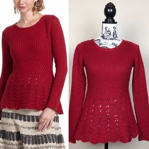 ANTHROPOLOGIE GUINEVERE Skirted Peplum Sweater Red